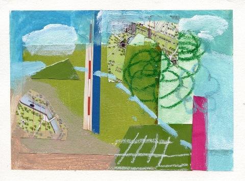 "Tilda Mann.  ""Ain't No Mountain High Enough"", mixed-media collage, 5"" x 7"""