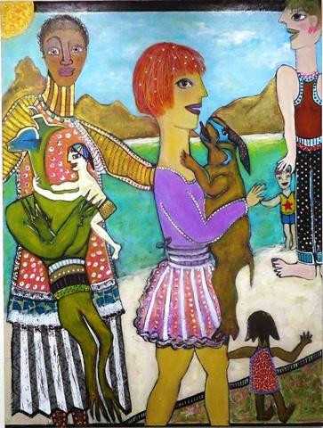 """Susan Wallack.  Reunion.  Acrylic, papers, ink, jewels on canvas.  48"""" x 36""""."""