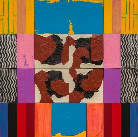 """Charles Kalick.  Skewbald #4.  Acrylic on panel.  16"""" x 16""""."""