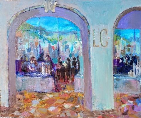 """""""Laughs Café"""" by Ronnie Bookbinder.  Acrylic on canvas, 20"""" x 24"""""""