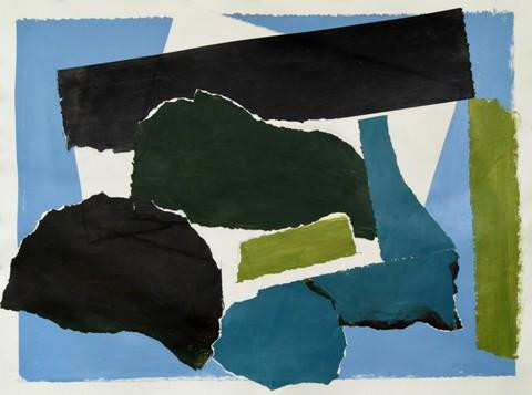 "Pia DeGirolamo.  Patagonia Landscape, collage with acrylic painted papers, 30"" x 37"""