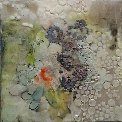 Dream Dots by Leah Macdonald.  Encaustic photograph on panel.