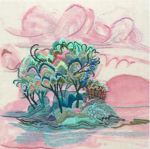 "Heidi Leitzke.  ""Afterglow Isle"".  Embroidery and acrylic on linen."