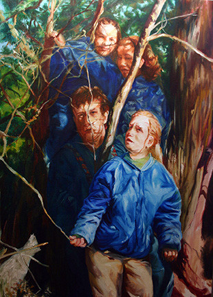 "Out of the Woods, oil on canvas, 51"" x 36"""