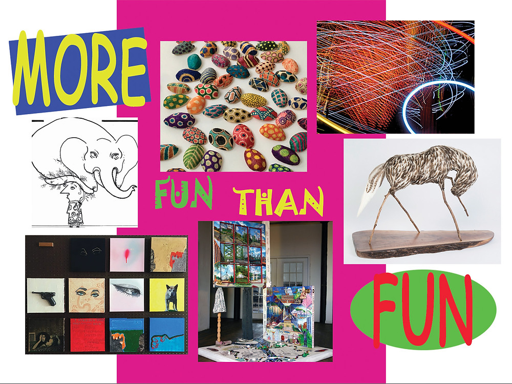 "Post card image for ""More Fun Than Fun"".  Artists starting at left and moving clockwise:  Andrea Beizer, Ruby Silvious, Peter Treiber, Alysa Bennett, Carol Taylor-Kearney, Ruth Wolf."