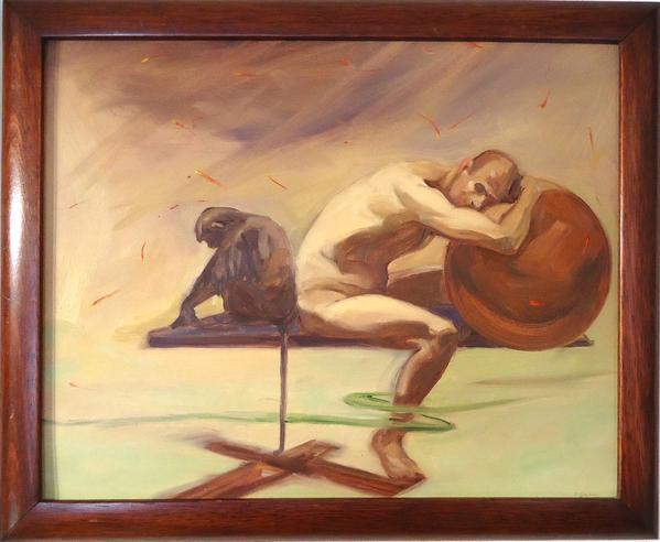 "Patricia Traub.  ""One Sleeping Languar"".  Oil on museum board."