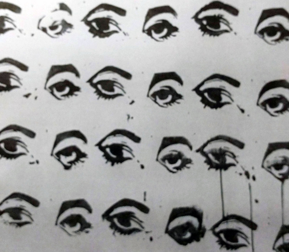 """""""Eyes"""" (detail) by Ruth Wolf, multi-print from a single block on canvas."""