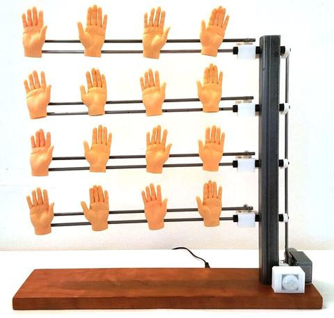 """Hello Hands"" by Joe Bowling.  Rubber, wood and steel, 17"" x 17"" x 4"""