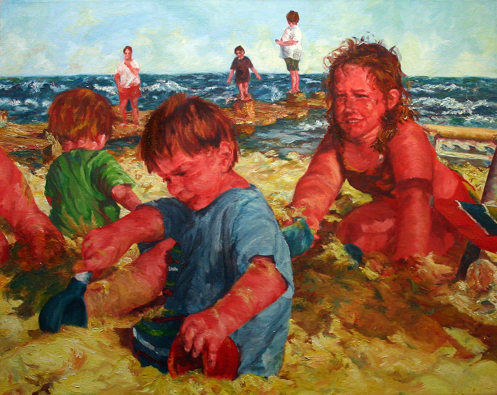 "Beach Diggers, oil on canvas, 24"" x 30 ""."