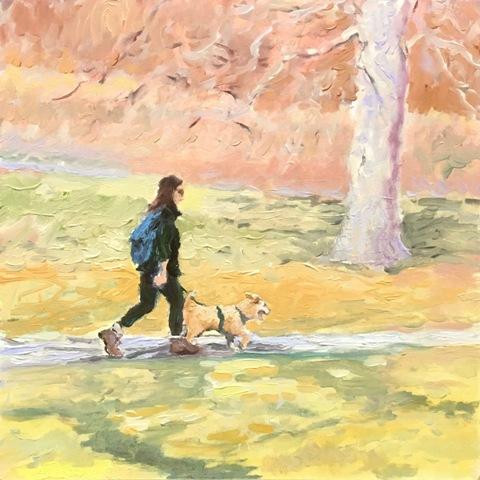 February Dog and Walker by Jeff Thomsen