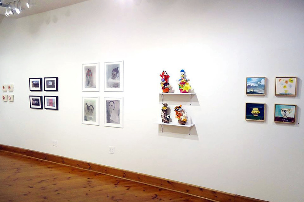 Two by Two, installation view.  Left to right: Teresa Shields, Michael Kowbuz, Aubrey Levinthal, Sandy Cadwalader, Louise Vinueza