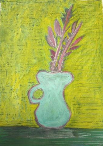 """Fran Gallun.  Pink Leaves.  Oil pastel, acrylic, pencil on paper.  18"""" x 14""""."""
