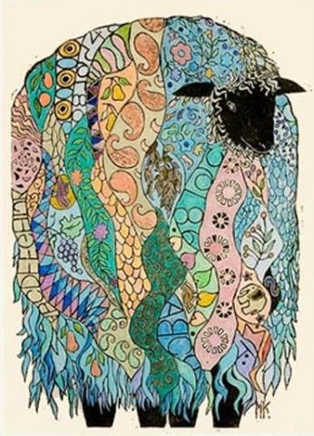 Paisley Sheep by Millicent Krouse