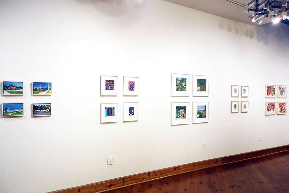 Two by Two, installation view.  Left to right: Hugh Hamrick, Evan Fugazzi, Allison Syvertsen, Michael Rossman, Bill Scott