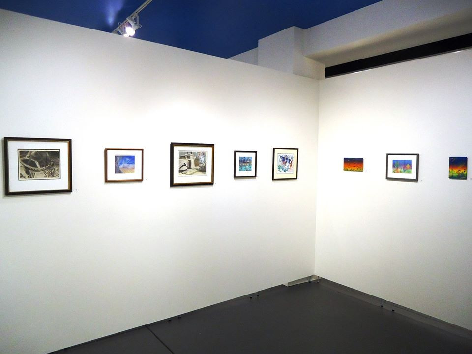 Installation view. Pat Moran, monoprint and reverse glass painting