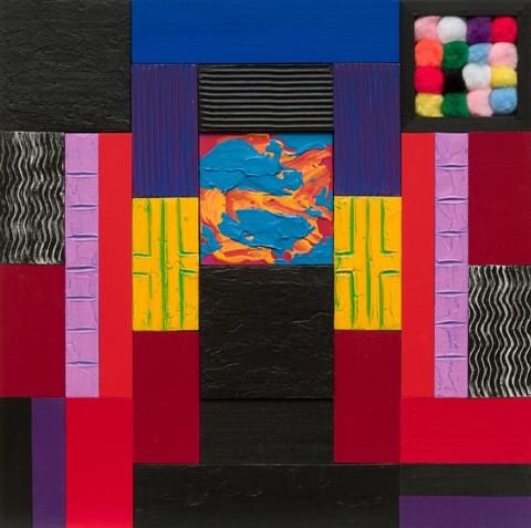 "Charles Kalick.  Monument.  Acrylic on birch panel.  16"" x 16""."