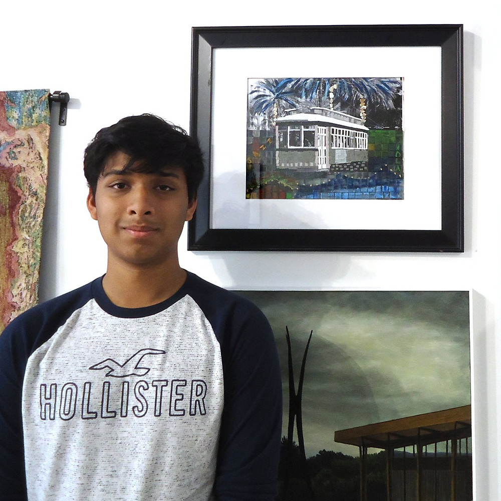 Sudyut Sinha with his First-Prize winning artwork New Orleans