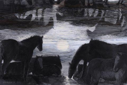 "Night Vision by Jill Rupinski, pastel, gouache on paper, 26"" x 38.75"""