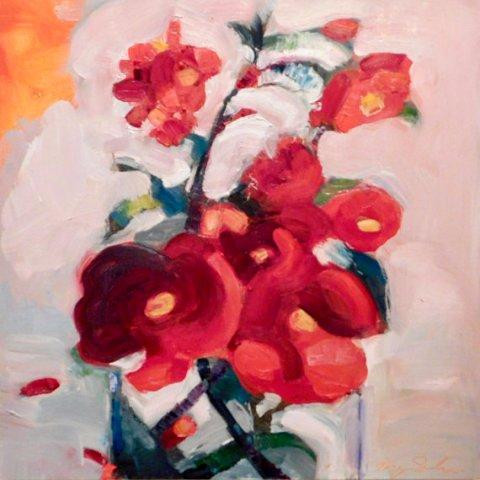 """Monique Sarkessian.  Still Life with Red Quince, oil on wood panel, 16"""" x 16"""""""