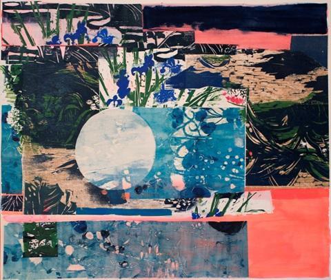 Julie Zahn.  Moon Garden.  Mixed media.