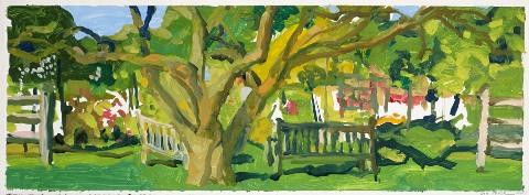 Liz Price.  Apple Tree and Benches. Oil on paper.