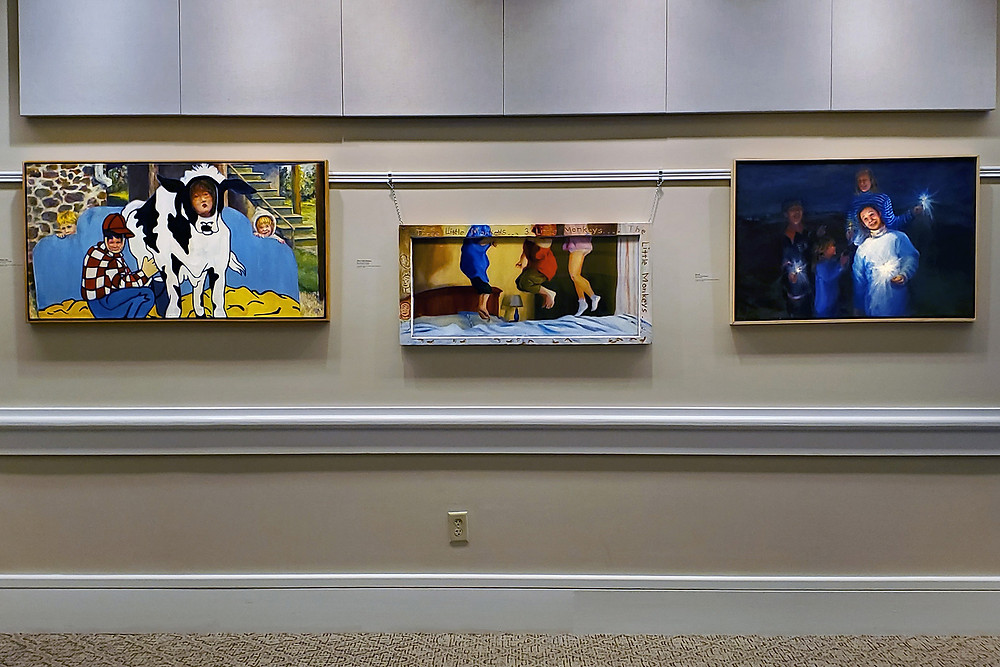 Installation view at Waverly heights Gallery.  L to R- Mommy Moo, Three little monkeys, Fire II