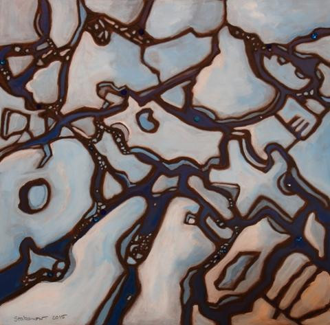 """""""Sea Ice"""" by Karen Stabenow.  Acrylic on board, 12"""" x 12"""""""
