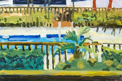 Pool Railings and Palms by Liz Price