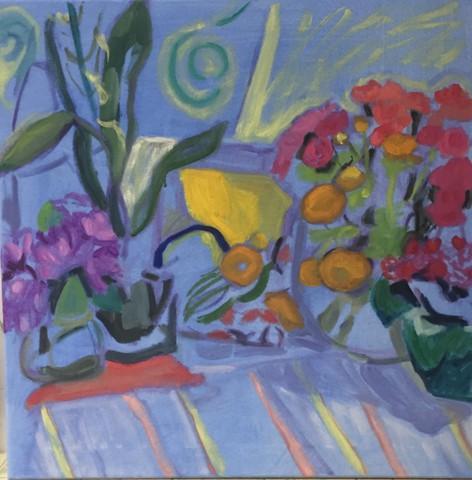 Peggy Tutelman Merves.  Dark Day in the Studio.  Oil on flashe on canvas.
