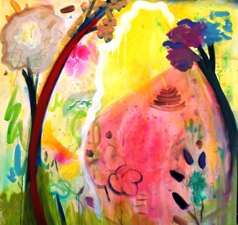 """Whimsy of Spring"" by Stephanie Rogers. Acrylic on gesso board, 40"" x 40"""