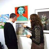 Talking about an art work at Cerulean Arts.