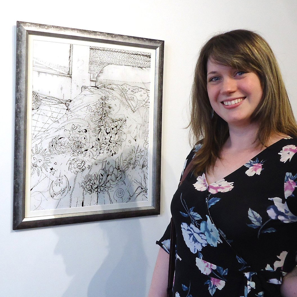Shannon DeAngelis with her Second-Prize winning artwork Drawing No. 12