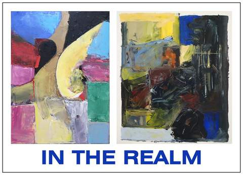 "Post card for ""In the Realm"".  Left:  Weather Report by Brian Boutwell.  Right:   To Speak with Other Tongues by Tom Csaszar"