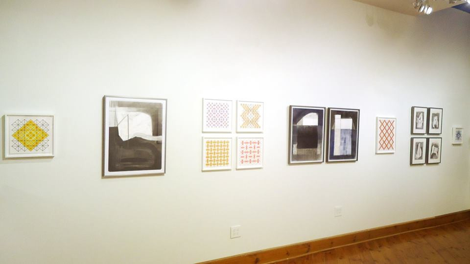 """Installation view of """"Reverberations"""" at Cerulean Arts Gallery.  Right-hand side from back of gallery"""