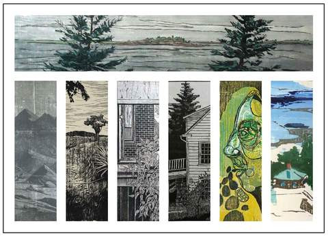 "Card for ""The Woodcut"".  Artist (starting top, left to right) Dan Miller, Michael Calaizzo, Diego Hiromi, Andrij Maday, Gene Shaw, Priscilla Young, Julie Zahn."
