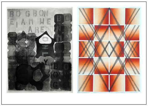 """Postcard for """"Reverberations"""" at Cerulean Arts Gallery February 27th - March 24th.  On left:  BOGBON by Andrea Krupp; on right:  A Light Is Coming by Lisa Sylvester."""