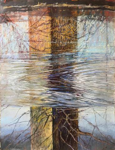 """Reflecting on Illusion by Jill Rupinski, pastel, gouache, casein on paper, 29"""" x 22"""""""