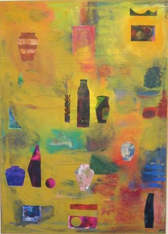 """Fran Gallun.  Golden Artifacts.  Acrylic with collage on canvas.  50"""" x 36""""."""