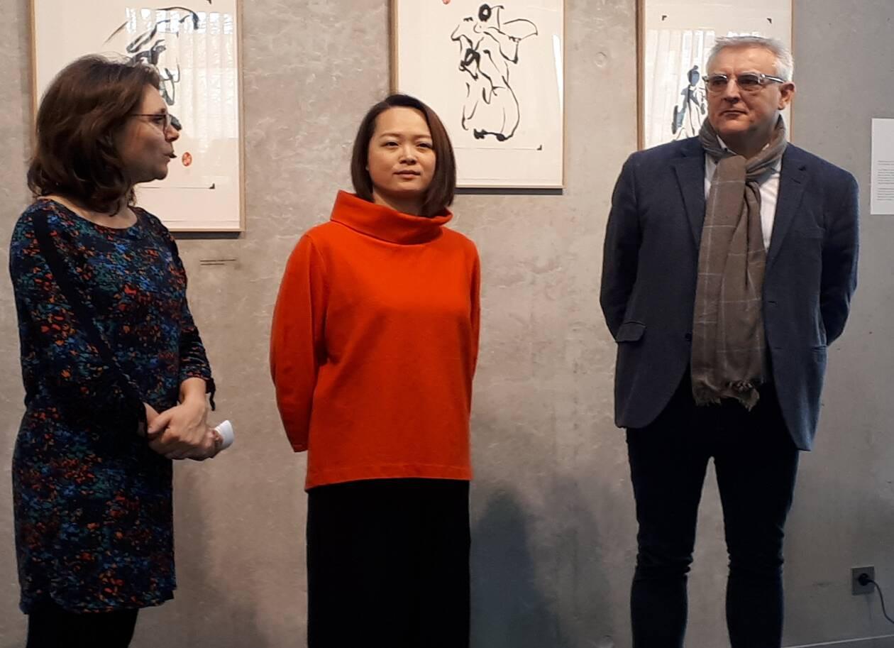 Avec Maire de Clisson et la directrice de la Médiathèque