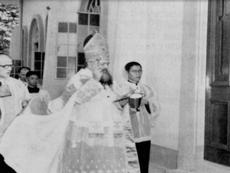 The Blessing of the Church by the late Mgsr. M. Olcomendy on April 4, 1954