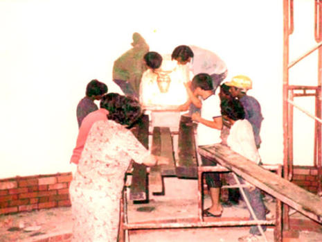 Carefully installing the Tabernacle in its final position