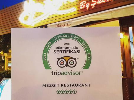 "Mezgit Restaurant, Tripadvisor ""İftihar Listesi""nde"
