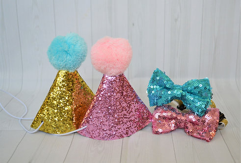Glitter hat and bow (Small & Medium dogs)