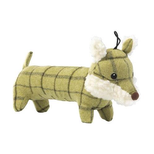 green tweed fox dog toy