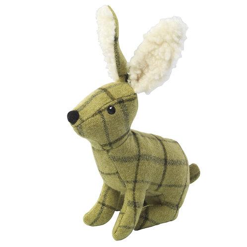 green tweed rabbit dog toy