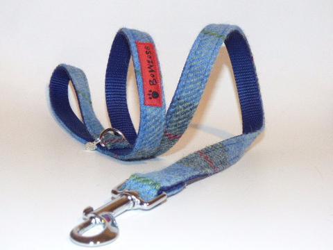 blue tweed dog lead