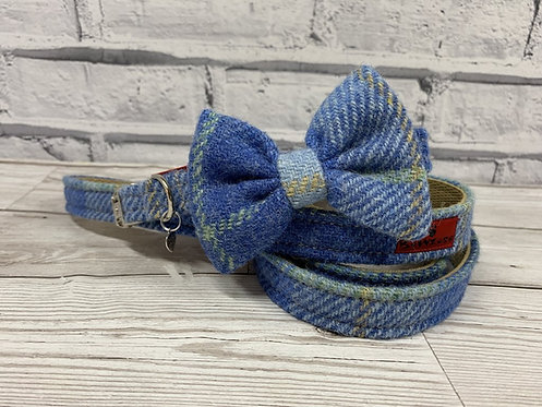blue tweed dog collar