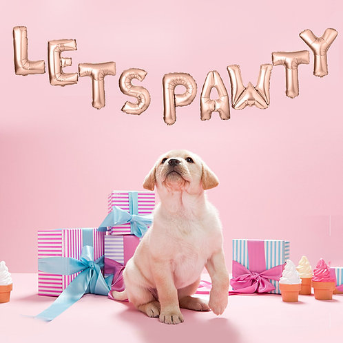 'Lets Pawty' balloons