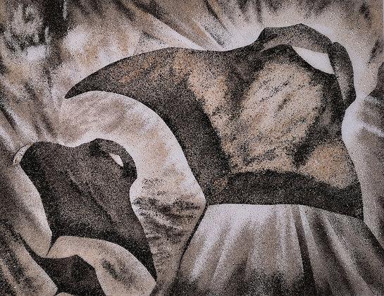 Tableau de sable de Trois raies manta
