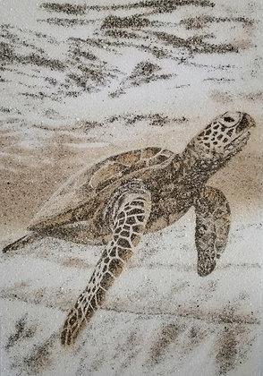 Tableau de sable d'une tortue